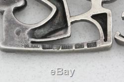 Vintage Kultateollisuus Ky Finland 830S Fine Silver Modernist Necklace