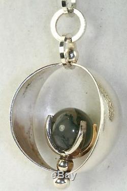 Vintage Kupittaan Kulta Finland Sterling Silver Moss Agate Necklace