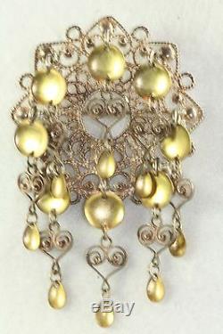 Vintage Large Sterling Silver Solje Wedding Pin Brooch