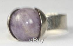 Vintage MCM Finland Kupittaan Kulta Sterling Silver Amethyst Ring Size 7.5