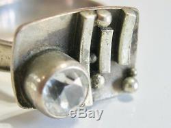 Vintage MID Century Mod Scandinavian Silver & Rock Crystal Brutalist Ring Size 8