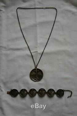 Vintage MID Century Modernist Jorma Laine Bronze Pendant Necklace & Bracelet