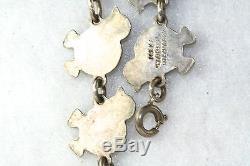 Vintage Meka Denmark Sterling Silver White Enamel Baby Chick Bracelet