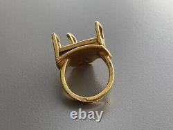 Vintage Mint Georg Jensen Sunshine And Night Ole B. Petersen Gold Ring Sz 6 / 52