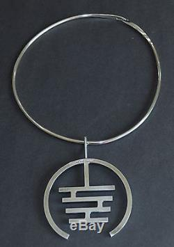 Vintage Modernist Arne Johansen Denmark 925S Sterling Silver Necklace Choker