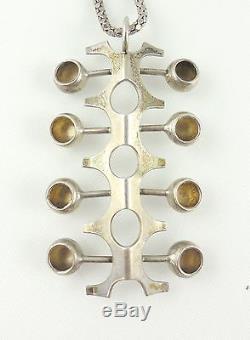 Vintage Modernist Brutalist Kultaseppa Salavaara Mid Century Pendant Necklace