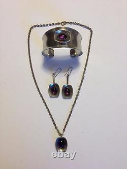 Vintage Modernist Denmark Jorgen Jensen Bracelet Necklace Earrings Pewter Purple