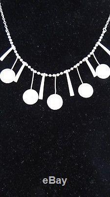 Vintage Modernist Hs Silver 830s Necklace Denmark