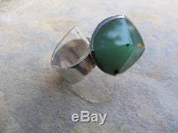 Vintage Modernist Jens Asby / C. F. Heise Sterling Silver Jade Ring Danish Design