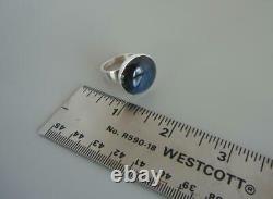 Vintage Modernist Ring Kaunis Koru Finland Sterling Silver Labradorite Size 7.5