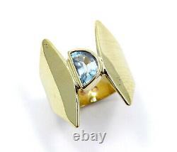 Vintage Modernist SCANDINAVIAN R4 Half Moon AQUAMARINE 14k Yellow Gold AQUA Ring