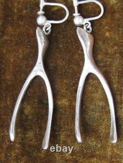 Vintage Modernist Scandinavian Sterling Silver 925S WBR Earrings Hallmark