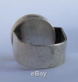 Vintage Modernist Scandinavian Sterling Silver Abstract Studio Inlay Dot Ring