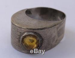 Vintage Modernist Sweden Sterling Silver Citrine Ring Denmark Size 8.75
