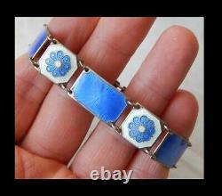 Vintage NORWAY DAVID ANDERSEN Enameled Guilloche Silver Bracelet