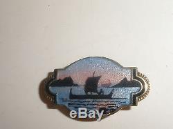 Vintage NORWAY Sterling Silver Enamel boat ship BROOCH PIN Aksel Holmsen Norne