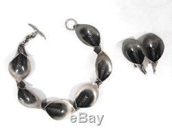 Vintage N. E. FROM DENMARK Mid Century Modern Bracelet Earring Silver Niels Erik