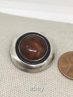 Vintage N. E. From Denmark Sterling Silver Amber Clip Earrings 30-18
