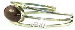 Vintage N E From Denmark Sterling Silver Amber Cuff Bracelet