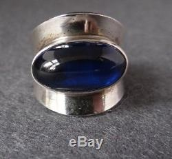 Vintage N. E. From Sterling Silver 925s With Blue Stone Ring Denmark