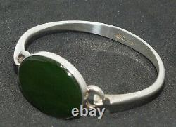 Vintage N. E. From Sterling Silver Bangle with Nephrite 13
