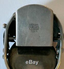Vintage Niels Erik NE From Denmark Sterling Silver Fish Motif Amber Bracelet