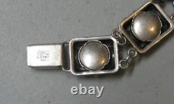 Vintage Niels Erik NE Sterling Silver Bracelet with Floral Design 1/2 Wide