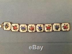 Vintage Nils Elvik gold over sterling silver enamel floral bracelet