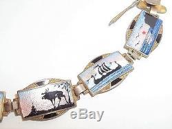 Vintage Norne Aksel Holmsen Norway 925 Sterling Silver Enamel Bracelet