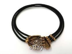 Vintage Norway Eivind Hillestad Bronze & Leather Modernist Necklace