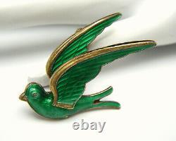 Vintage Norway HROAR PRYDZ Sterling Silver Green Enamel Bird Brooch Gold Vermeil