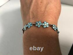 Vintage Norway Sterling Silvee Baby Blue & White Enamel Link Bracelet 7.5