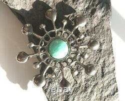 Vintage Norway Uni David-Andersen Snow Crystal Pin/Pendant Sterling Amazonite