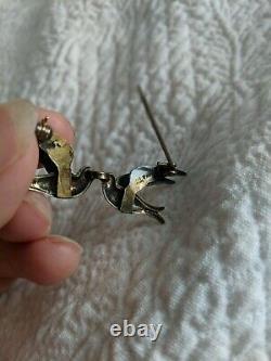 Vintage Norway White Enamel 925 Vermeil Birds in Flight Pin by Bernhard Meldahl