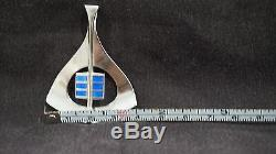Vintage Norwegian Aksel Holmsen Sterling Silver & Blue Enamel Modernist Pendant