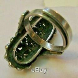 Vintage Norwegian Finn Jensen Sterling Silver Modernist Cannetille Ring Sz 6 1/2