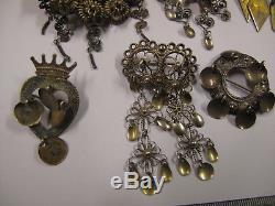 Vintage Norwegian Swedish silver-Solje wedding pin-brooch lot 8st 830S