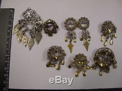 Vintage Norwegian silver-Solje wedding pin-brooch lot 7st 830S Norway