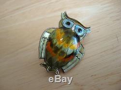 Vintage Owl Pin / Brooch Guilloche Enamel Sterling Silver David Andersen