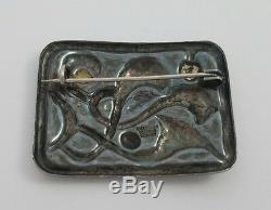 Vintage Oystein Balle Norway Enamel And 925 Sterling Silver Modernist Pin Brooch