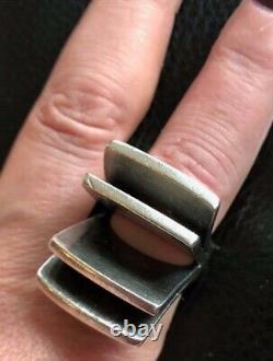 Vintage Pekka Piekainen Sterling Architectural Flared Bar Ring Size 6.25