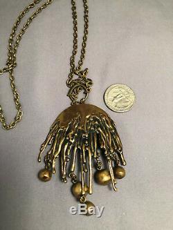 Vintage Pentti Sarpaneva Signed Bronze Pendant Necklace Finland Brutalist Design