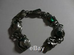 Vintage Rare Sterling Evald Nielsen Denmark Skonvirke Green Chrysoprase Bracelet
