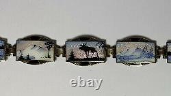 Vintage STERLING SILVER ENAMEL BRACELET SIGNED NORNE AKSEL HOLMSEN NORWEGIAN 8