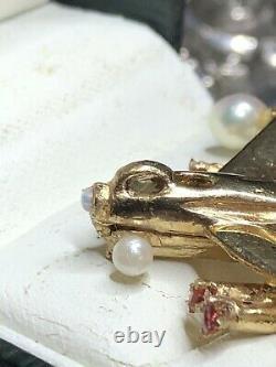 Vintage Scandinavian 14k Gold Pearl Ruby Plane Snuff Pill Box Pendant. 7.8 Grams