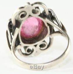 Vintage Scandinavian 830s 830 Silver Pink Tourmaline Ring Size 7