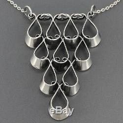 Vintage Scandinavian Erik Granit Finland Sterling Silver Modernist Necklace 1972