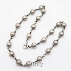 Vintage Scandinavian Finland 925 Sterling Silver Bead Chain Necklace 15