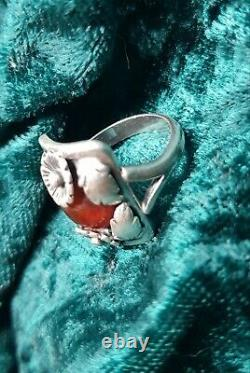 Vintage Scandinavian N. E. FROM 1950 Sterling Silver Ring with amber
