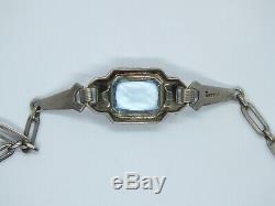 Vintage Scandinavian Norwegian Art Deco Silver & Aquamarine Paste Bracelet